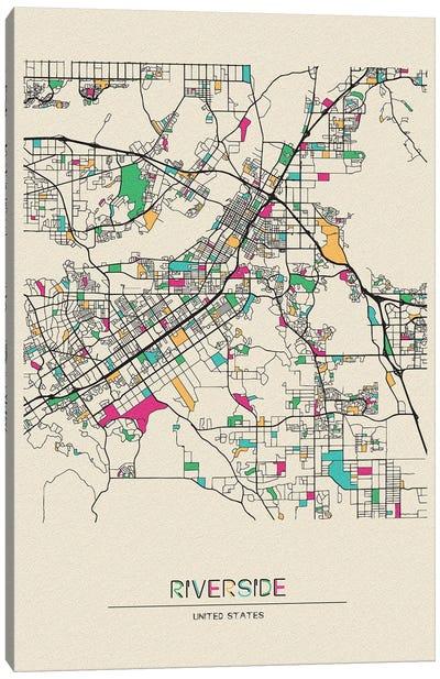 Riverside, California Map Canvas Art Print