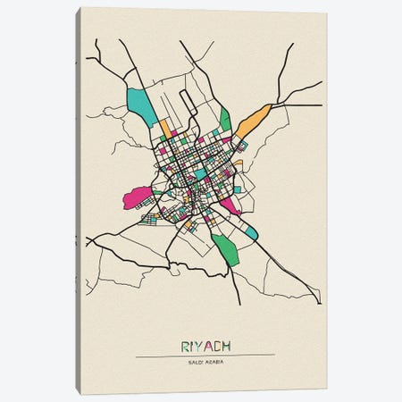 Riyadh, Saudi Arabia Map Canvas Print #ADA628} by Ayse Deniz Akerman Canvas Print