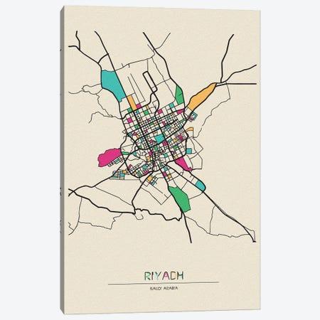 Riyadh, Saudi Arabia Map Canvas Print #ADA628} by Ayse Deniz Akerman Canvas Print