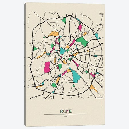 Rome, Italy Map Canvas Print #ADA630} by Ayse Deniz Akerman Canvas Wall Art