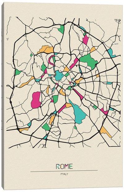 Rome, Italy Map Canvas Art Print