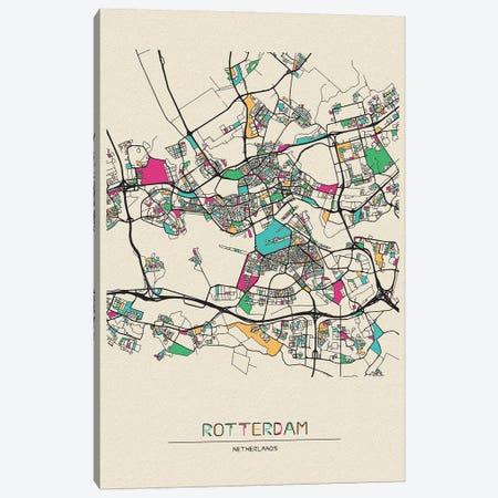 Rotterdam, Netherlands Map Canvas Print #ADA631} by Ayse Deniz Akerman Canvas Wall Art