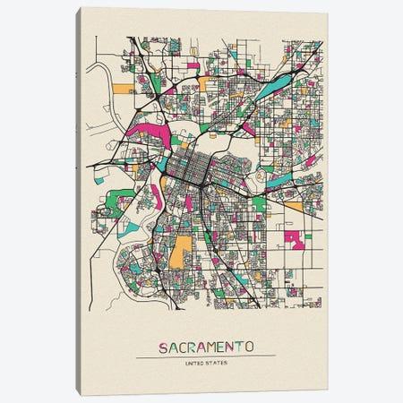 Sacramento, California Map Canvas Print #ADA632} by Ayse Deniz Akerman Canvas Wall Art