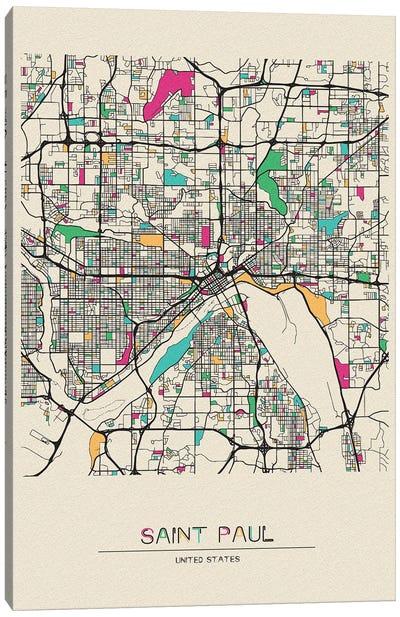 Saint Paul, Minnesota Map Canvas Art Print