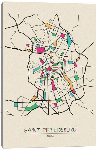 Saint Petersburg, Russia Map Canvas Art Print