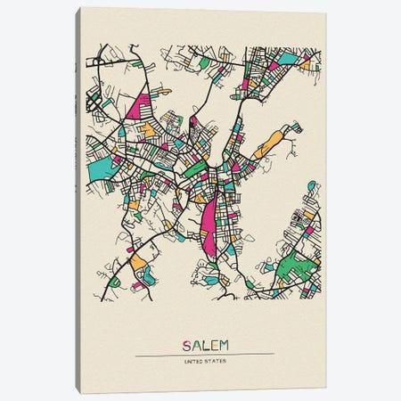 Salem, Massachusetts Map Canvas Print #ADA635} by Ayse Deniz Akerman Canvas Print