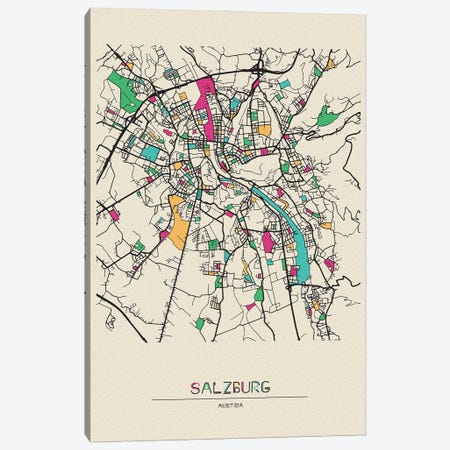 Salzburg, Austria Map Canvas Print #ADA637} by Ayse Deniz Akerman Art Print