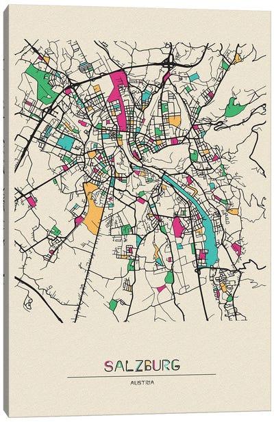 Salzburg, Austria Map Canvas Art Print