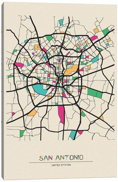 San Antonio, Texas Map Canvas Art Print