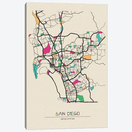 San Diego, California Map Canvas Print #ADA640} by Ayse Deniz Akerman Art Print