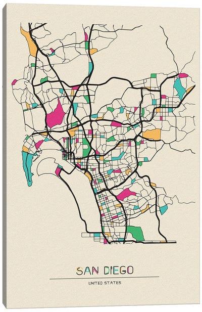 San Diego, California Map Canvas Art Print