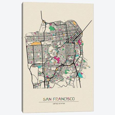 San Francisco, California Map Canvas Print #ADA641} by Ayse Deniz Akerman Canvas Art Print