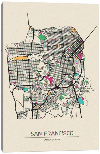 San Francisco, California Map Canvas Art Print