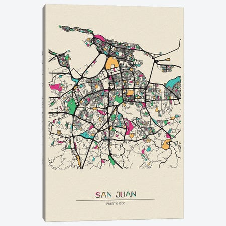 San Juan, Puerto Rico Map Canvas Print #ADA643} by Ayse Deniz Akerman Canvas Print