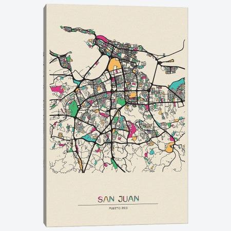San Juan, Puerto Rico Map Canvas Print #ADA643} by Ayse Deniz Akerman Canvas Print