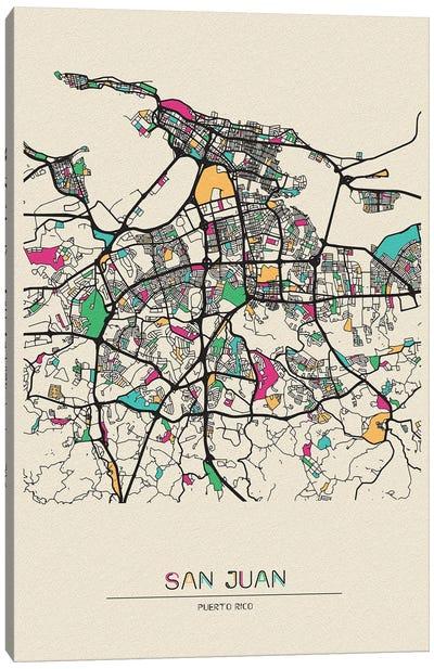 San Juan, Puerto Rico Map Canvas Art Print