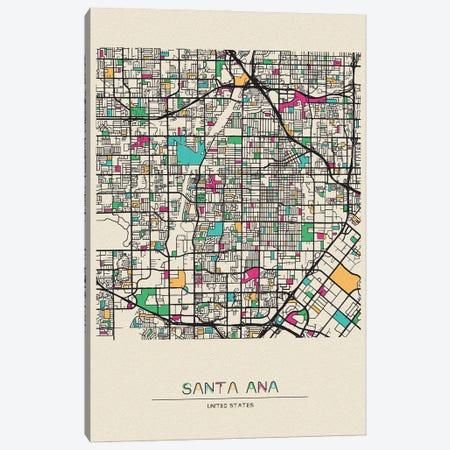 Santa Ana, California Map Canvas Print #ADA645} by Ayse Deniz Akerman Canvas Wall Art
