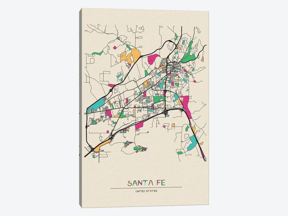 Santa Fe, New Mexico Map by Ayse Deniz Akerman 1-piece Canvas Art Print