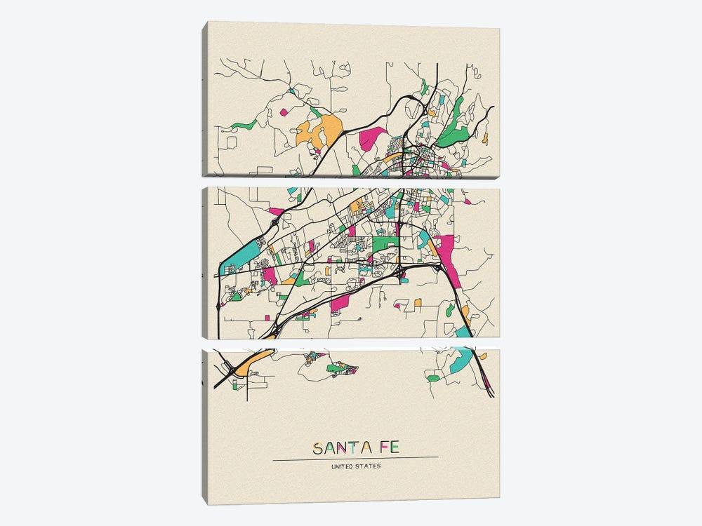 Santa Fe, New Mexico Map by Ayse Deniz Akerman 3-piece Canvas Art Print