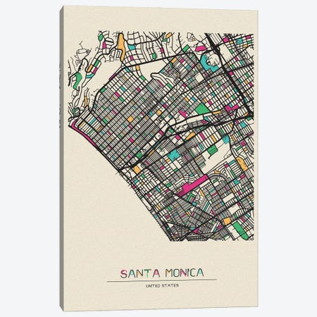 Santa Monica, California Map Canvas Print #ADA647} by Ayse Deniz Akerman Canvas Art