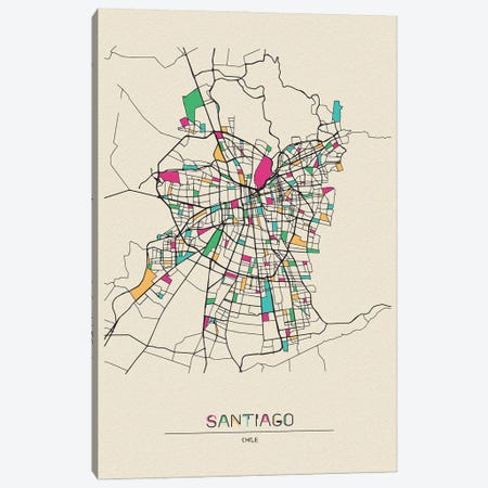 Santiago, Chile Map Canvas Print #ADA648} by Ayse Deniz Akerman Canvas Print