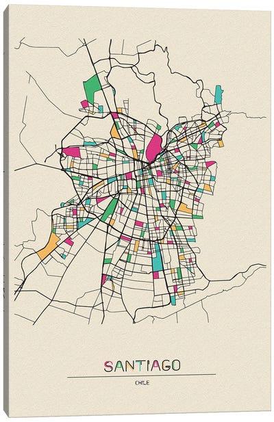 Santiago, Chile Map Canvas Art Print