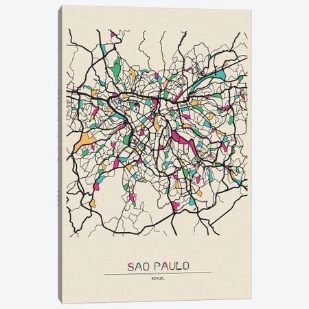Sao Paulo, Brazil Map Canvas Print #ADA649} by Ayse Deniz Akerman Canvas Print