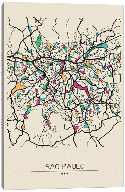 Sao Paulo, Brazil Map Canvas Art Print