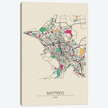 Sapporo, Japan Map Canvas Print #ADA650} by Ayse Deniz Akerman Canvas Art