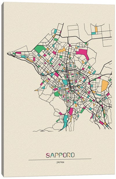 Sapporo, Japan Map Canvas Art Print