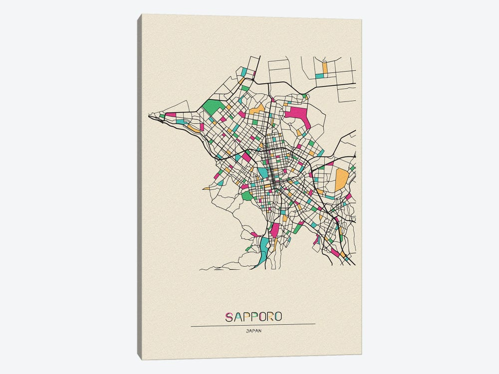 Sapporo, Japan Map by Ayse Deniz Akerman 1-piece Canvas Artwork