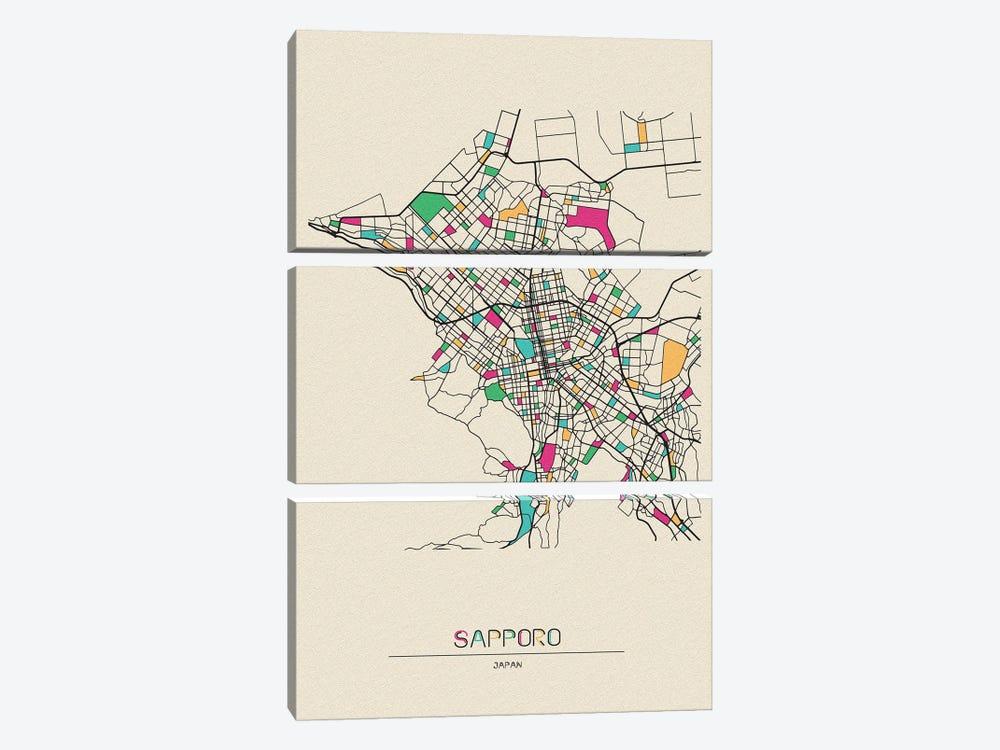 Sapporo, Japan Map by Ayse Deniz Akerman 3-piece Canvas Wall Art