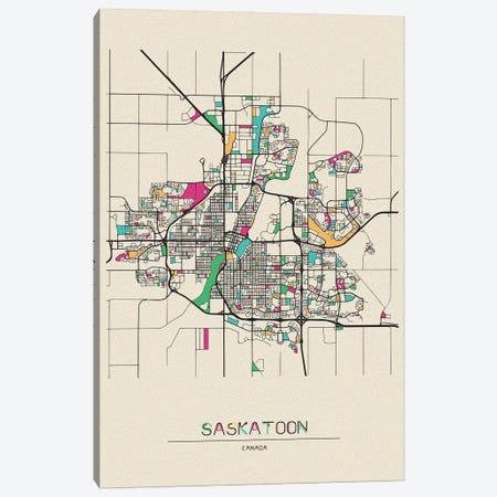 Saskatoon, Canada Map Canvas Print #ADA651} by Ayse Deniz Akerman Canvas Artwork