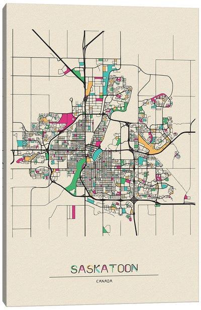 Saskatoon, Canada Map Canvas Art Print