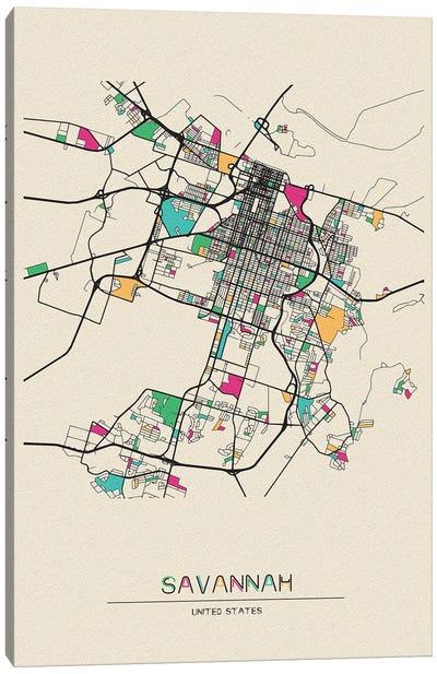 Savannah, Georgia Map Canvas Art Print