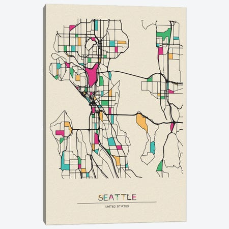 Seattle, Washington Map Canvas Print #ADA653} by Ayse Deniz Akerman Canvas Artwork
