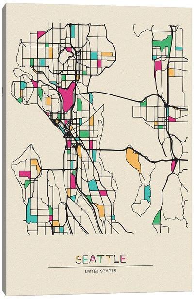 Seattle, Washington Map Canvas Art Print