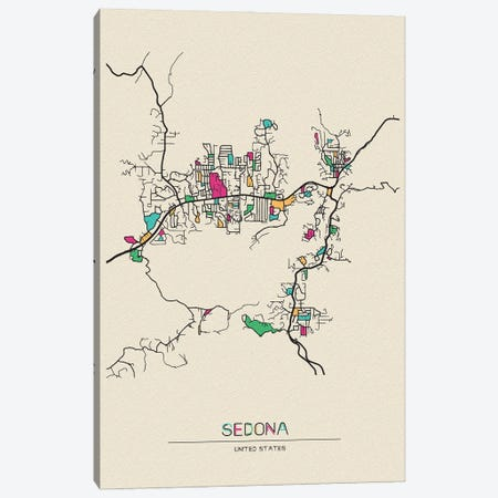 Sedona, Arizona Map Canvas Print #ADA654} by Ayse Deniz Akerman Canvas Print