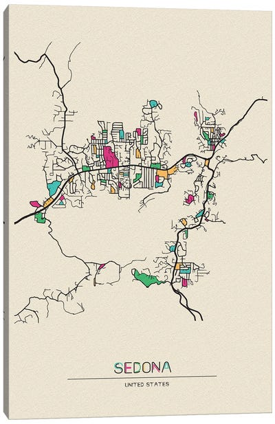 Sedona, Arizona Map Canvas Art Print