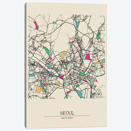 Seoul, South Korea Map Canvas Print #ADA655} by Ayse Deniz Akerman Canvas Art Print