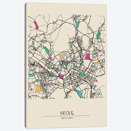 Seoul, South Korea Map Canvas Print #ADA655} by Ayse Deniz Akerman Canvas Art Print