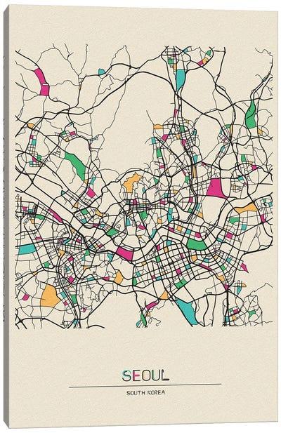 Seoul, South Korea Map Canvas Art Print