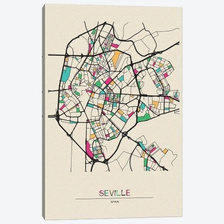 Seville, Spain Map Canvas Print #ADA656} by Ayse Deniz Akerman Art Print