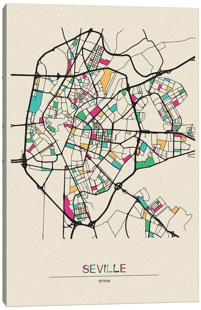 Seville, Spain Map Canvas Art Print