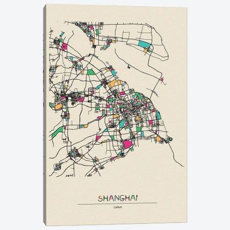 Shanghai, China Map Canvas Print #ADA657} by Ayse Deniz Akerman Art Print
