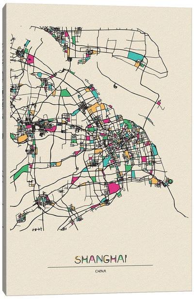 Shanghai, China Map Canvas Art Print