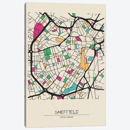 Sheffield, England Map Canvas Print #ADA658} by Ayse Deniz Akerman Canvas Art