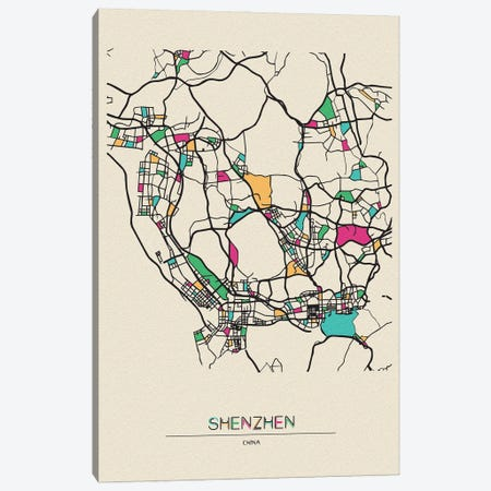 Shenzhen, China Map Canvas Print #ADA659} by Ayse Deniz Akerman Canvas Wall Art