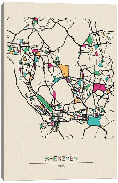 Shenzhen, China Map Canvas Art Print