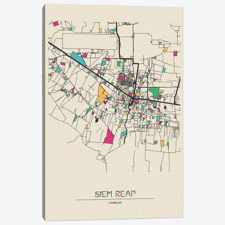 Siem Reap, Cambodia Map Canvas Print #ADA660} by Ayse Deniz Akerman Canvas Art Print